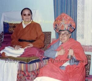 12 HH Dudjom Rinpoche Bestowing Lotus Hat to Guru Lau2