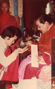12 HH Dudjom Rinpoche Bestowing Empowerments to Yeshe Thaye (1981)-3