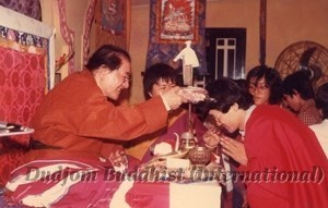12 HH Dudjom Rinpoche Bestowing Empowerments to Yeshe Thaye (1981)-4