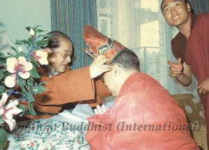12 HH Dudjom Rinpoche's Bestowal of Lotus Hat to Guru Lau - small