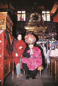 28 Guru Lau and Mrs. Lau in front of the Stupa of HH Kyabje Dudjom Rinpoche's Kundung (1989)