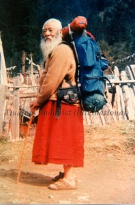 Chadral Rinpoche travelling on foot