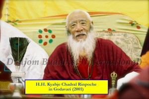 HH Chadral Rinpoche in Godavari (2001) with words