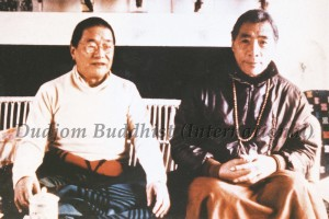 His Holiness Chadral Rinpoche (left) with His Holiness Dudjom Rinpoche (right)